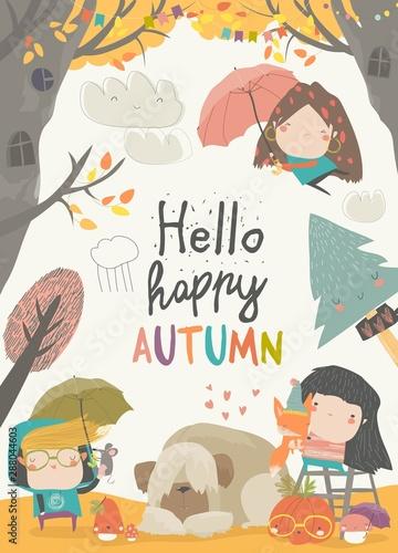 Cute children meeting autumn wearing warm clothes