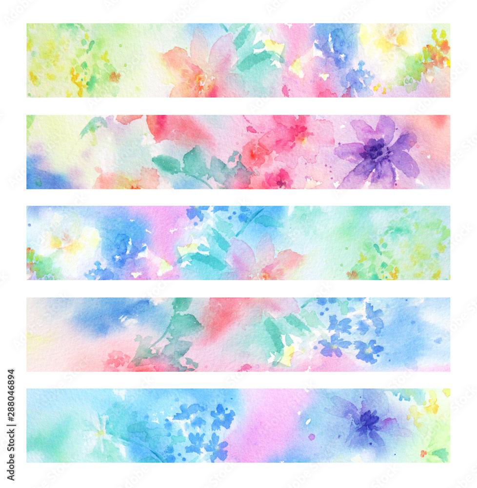 Fototapeta やさしい花柄の帯セット 手描き水彩イラスト
