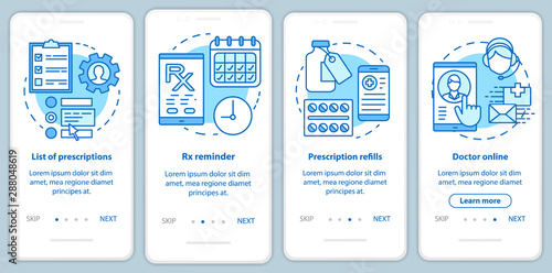 Photo Prescription list and online pharmacy onboarding mobile app page screen with linear concepts