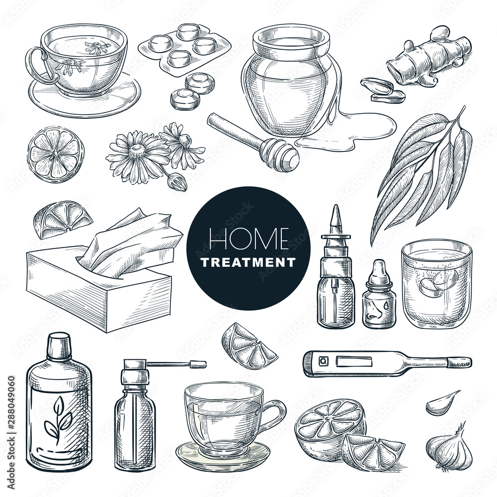 Fototapety, obrazy: Home remedies treatment for colds, coughs. Vector hand drawn sketch illustration. Healthcare herbal therapy icons