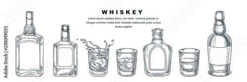 Fotografía  Whiskey bottles and glass, vector sketch illustration