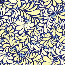 Paisley Or Damask Golden Flora...