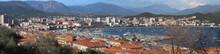 The Panoramic View Ajaccio Houses And Marina Port , Corsica, France.