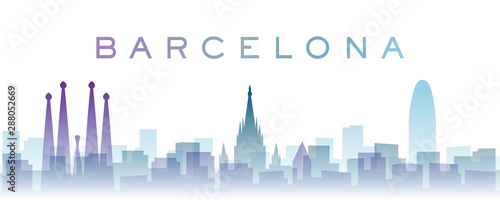 Barcelona Transparent Layers Gradient Landmarks Skyline Wallpaper Mural