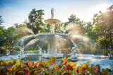 Fototapeta Sawanna - Scenic summer view golden sunlight shining through water spray of the old fountain (built in 1858) in Forsyth Park, Savannah, Georgia, USA