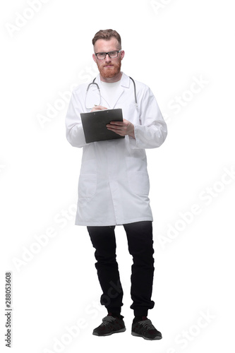 medical doctor with a clipboard. isolated on white Canvas-taulu
