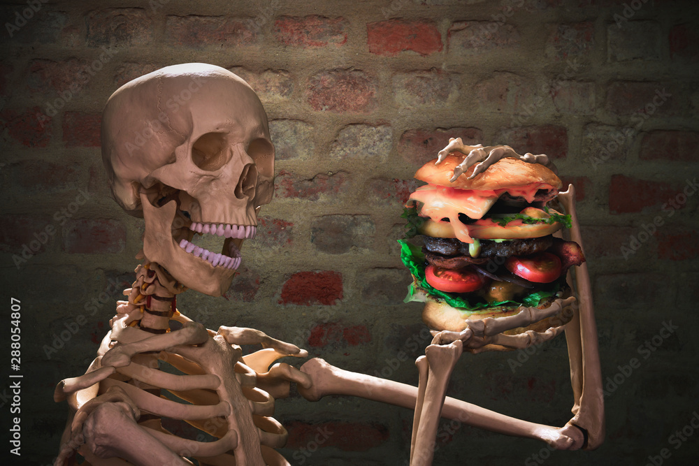 Fototapety, obrazy: funny skeleton eating junk food and have unhealthy lifestyle