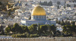 View from above, stunning view of the Jerusalem skyline with the beautiful Dome of the Rock (Al-Aqsa Mosque). Picture taken from the Mount of Olives adjacent to Jerusalem's Old City.
