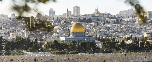 Canvas Print View from above, stunning view of the Jerusalem skyline with the beautiful Dome of the Rock (Al-Aqsa Mosque)