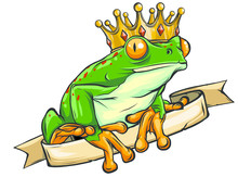 Frog Prince Waiting To Be Kissed, Holding A Heart. Vector