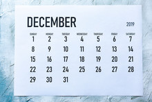 Monthly December  2019 Calendar