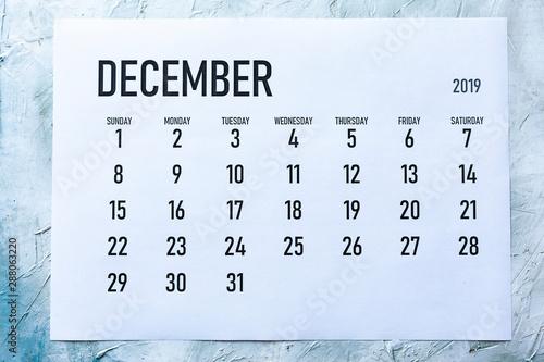 Photo Monthly December  2019 calendar