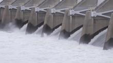 Nimbus Dam American River Water Release Folsom California (spillway Churning Water Shot, Color Graded)