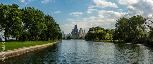 Panoramic view of Lincoln Park and the Chicago skyline. Tableau sur Toile