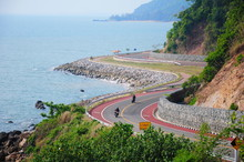 Chalerm Burapha Cholathit  Road, The Stretch Along The Coast Sea, Chantaburi Thailand,  Scenic Route