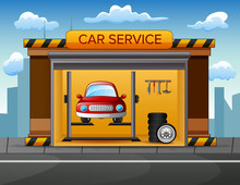 Auto Service Building Background With Car Inside Illustration