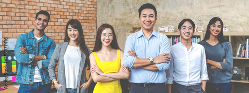 Banner of Group asian employee are standing and looking at camera with feeling confident at workplace company Canvas Print