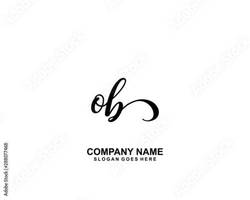 Fotomural  OB Initial handwriting logo vector
