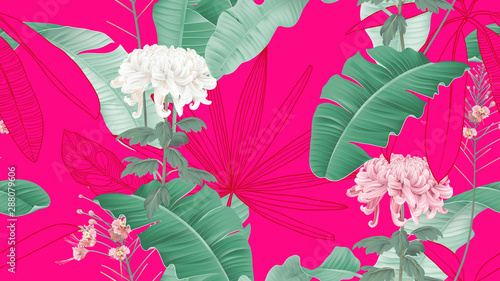 Botanical seamless pattern, Chrysanthemum morifolium flowers and various leaves on vibrant pink