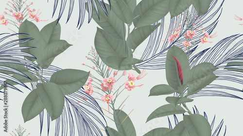 Botanical seamless pattern, pink peacock flowers and various leaves on light green, pastel vintage theme