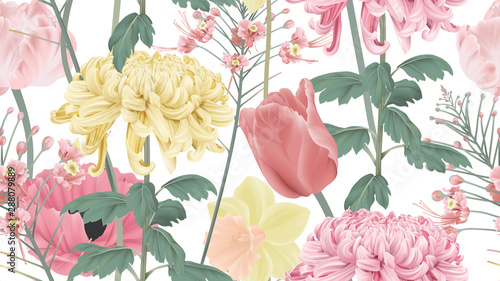 Botanical seamless pattern, various pink and yellow flowers on white, pastel vintage theme