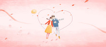 Valentine's Day, Valentine, Couple, Lover, Love, Encounter, Date, Date, Date, Puppy Love, Love, Romance, Qixi, Aestheticism, Love Letter, Elopement, Marriage, Address, Courtship, Proposal, Illustratio