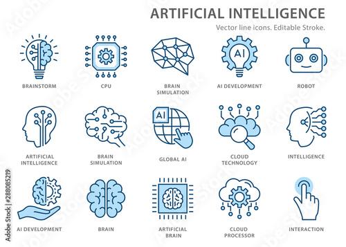 Obraz Artificial intelligence line icons set. Vector illustration. Editable stroke. - fototapety do salonu
