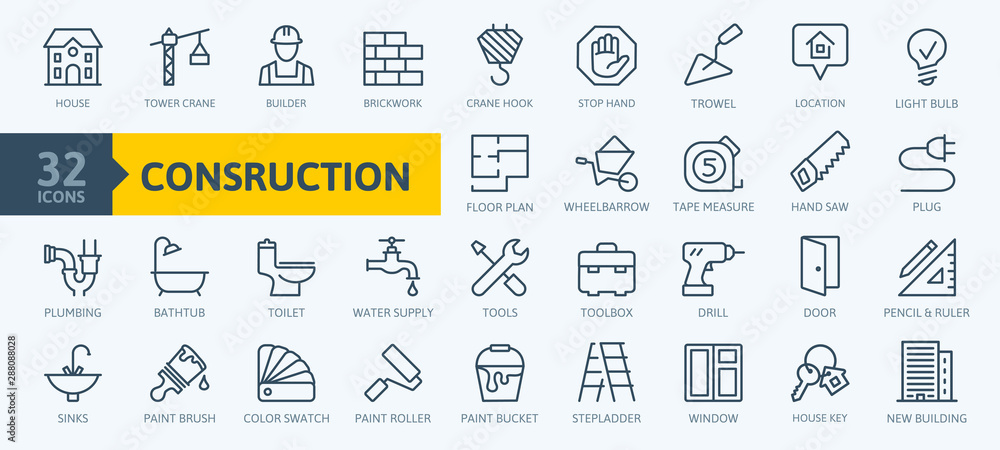 Fototapeta Outline web icons set - construction, home repair tools. Thin line web icons collection. Simple vector illustration.