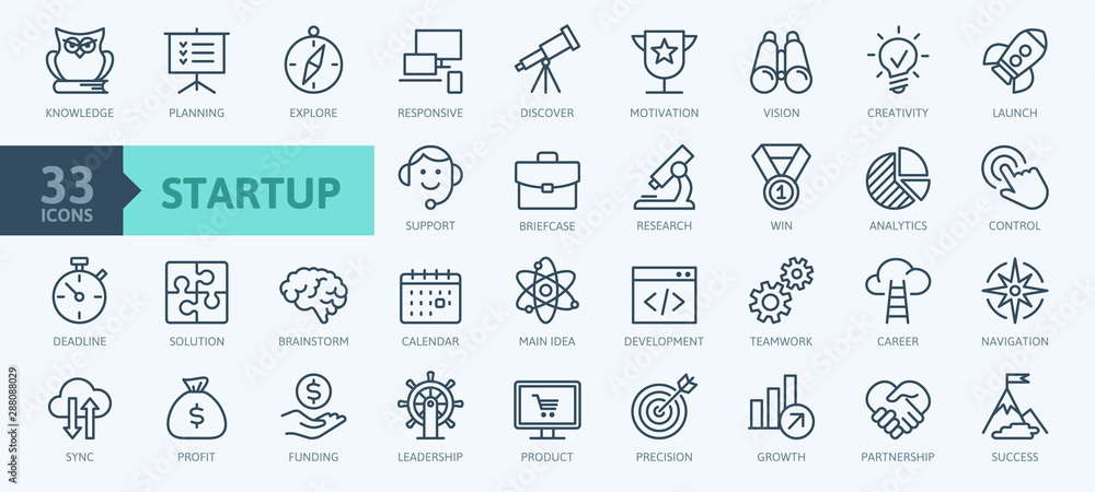Fototapeta Startup project and development elements - minimal thin line web icon set. Outline icons collection. Simple vector illustration. - obraz na płótnie