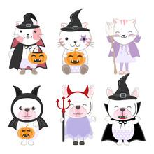 Cute Kid Animals Cartoon Halloween Set Illustration