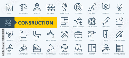 Obraz Outline web icons set - construction, home repair tools. Thin line web icons collection. Simple vector illustration. - fototapety do salonu