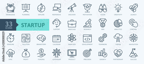 Fotomural  Startup project and development elements - minimal thin line web icon set