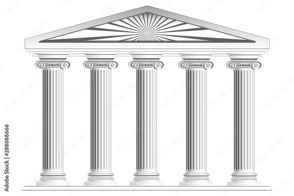 Fototapeta Columns with arch isolated on white background. 3d rendering.