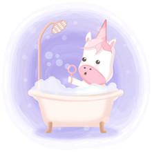 Cute Unicorn Taking Bath In Bathtub Hand Drawn Cartoon Illustration