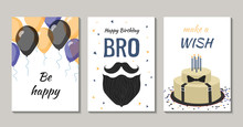 Set Of Birthday Greeting Cards Design For Man. There Are Balloons, Cake With Candles, Confetti, Man's Beard And Mustache.