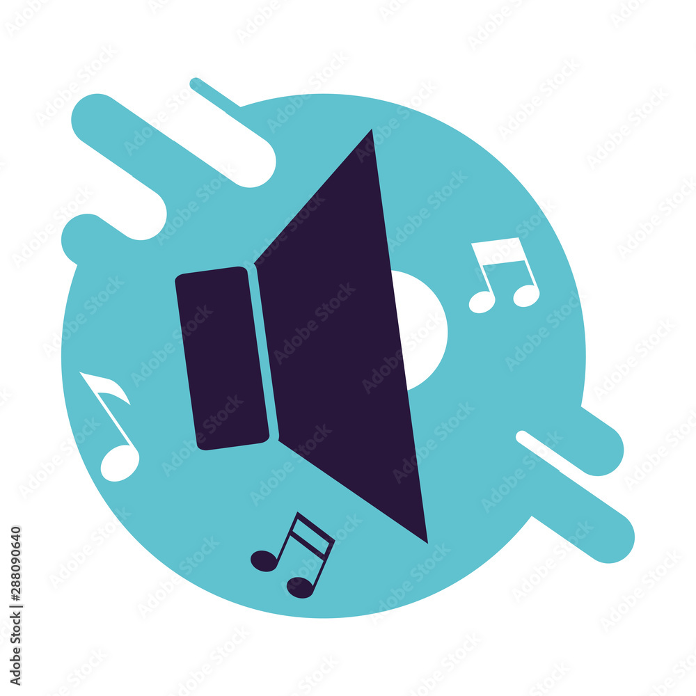 Fototapeta poster with speaker symbol and notes music