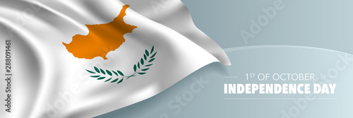 Cyprus independence day vector banner, greeting card