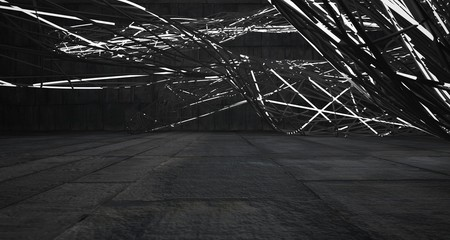 Empty dark abstract concrete smooth architectural interior of chaotic lines. Night view of the illuminated. 3D illustration and rendering