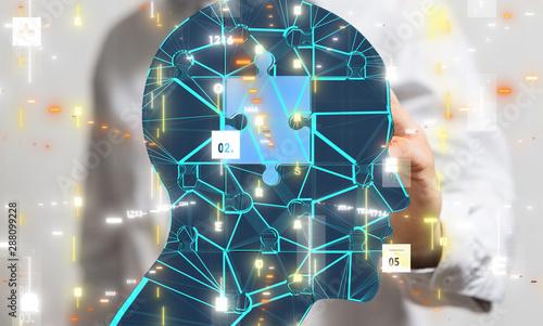 Obraz na plátně  Human head cyber mind digital technology