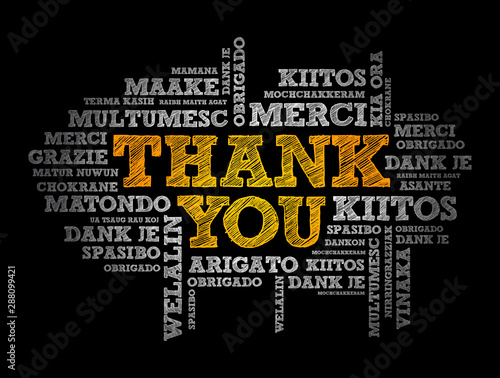 Thank You word cloud in different languages, concept background Canvas-taulu