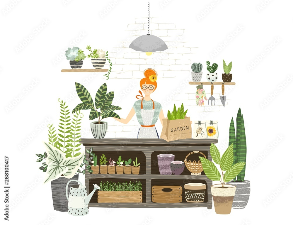 Fototapeta Charming girl shop assistant stands at the table with plants, seedling, watering can, flowers pots in garden shop for cultivating home garden. Florist working and checkout. Flat cartoon illustration.
