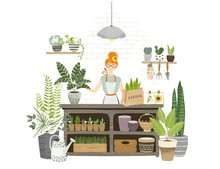 Charming Girl Shop Assistant Stands At The Table With Plants, Seedling, Watering Can, Flowers Pots In Garden Shop For Cultivating Home Garden. Florist Working And Checkout. Flat Cartoon Illustration.