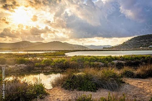 ibiza's lagoon at sunset, balearic islands, spain