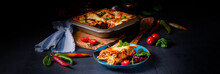 Spicy Lasagne With Tomato Sauce And Basil