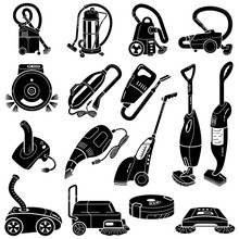 Vacuum Cleaner Icons Set. Simple Set Of Vacuum Cleaner Vector Icons For Web Design On White Background