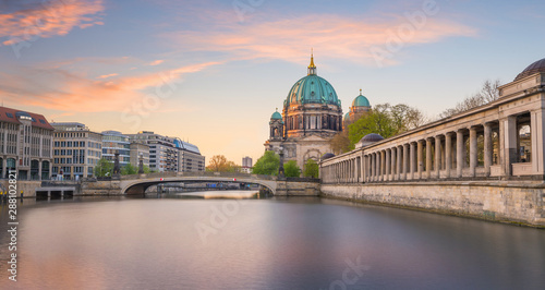 Berlin skyline with Spree river at sunset twilight Canvas Print