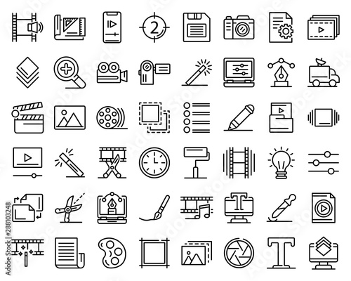 Obraz Editor icons set. Outline set of editor vector icons for web design isolated on white background - fototapety do salonu