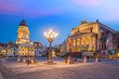 Panoramic view of famous Gendarmenmarkt square at sunset in Berlin