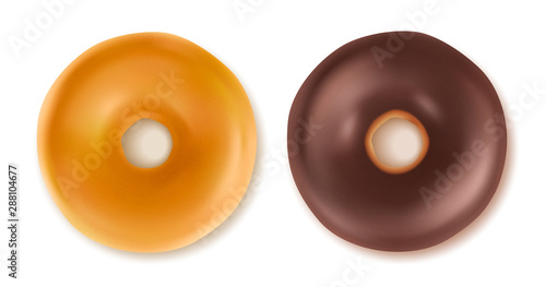 Sweet tasty donut isolated on white. Canvas Print