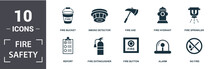Fire Safety Icon Set. Contain ...